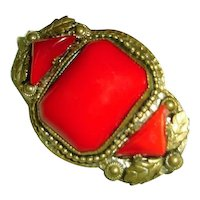 Art Nouveau Brooch Egyptian Revival Lipstick Red