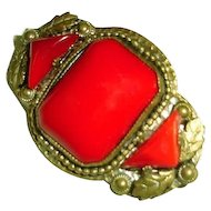 Art Nouveau Egyptian Revival Brooch Lipstick Red Cabochons