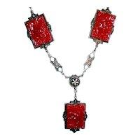 Art Deco Carnelian Pressed Glass Necklace Neiger