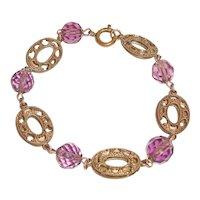 Art Deco Czech Bracelet Gilded Brass Purple Crystals