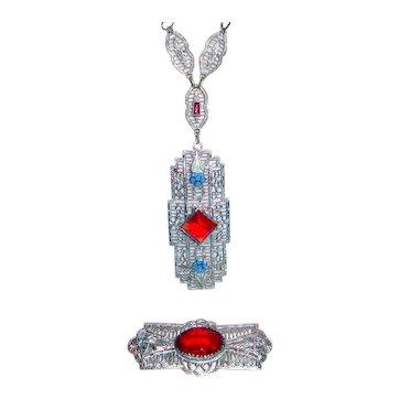 Art Deco Filigree Necklace Red Stones Enamel Drop