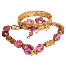 Art Deco Enamel Filigree Bangle and Crystal Necklace Set