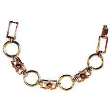 Art Deco Bracelet  Krementz Diana Line 14K Rose Yellow Gold Overlay