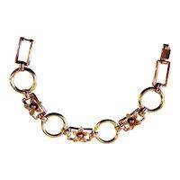 Diana Art Deco Krementz Bracelet 14K Rose Yellow Gold Overlay