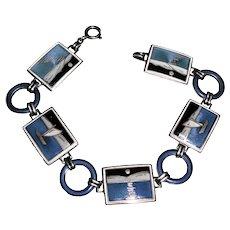Art Deco Guilloche Enamel Sterling Silver Panel Bracelet Norway