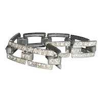 Art Deco Link Bracelet Post Metal Clear Paste Stones