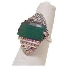Dazzling Art Deco Sterling Ring Chrysoprase Marcasites