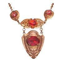 Antique Shield Necklace Cranberry Red Czech Glass