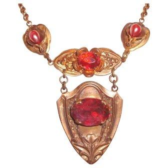 Fancy Art Nouveau Necklace Shield Drop Red Czech Glass