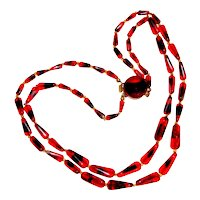 Art Glass Choker Necklace Red Black Beads