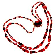 1950s Duo Tone Art Glass Necklace Red Black