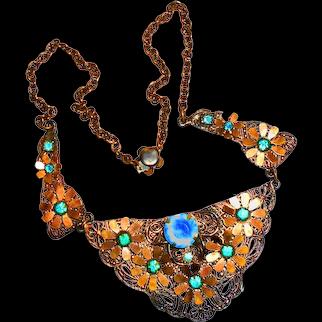 Early Czech Edwardian Bib Necklace Aqua Glass Neiger