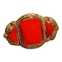 Rare Egyptian Revival Czech Brooch Lipstick Red