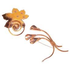 Estate Matisse Renoir Brooches Autumn Leaf Calla Lilies