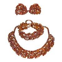 1950s Aurora Rhinestone Jewelry Set Hollywood Glamour