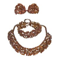 1950s Amber Rhinestone Choker Bracelet Earrings Set Runway Jewelry
