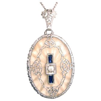 Fancy Edwardian Camphor Glass Pendant Blue Baguettes Filigree