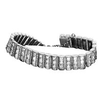 Art Deco Etched Bracelet French Crystals