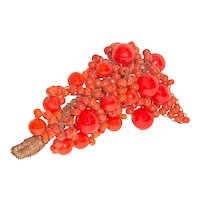 French Art Deco Brooch Hand Wired Lipstick Red Beads