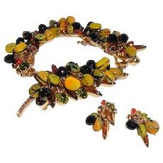 Juliana Carmen Miranda Bracelet Brooch Earrings Fruit Bowl