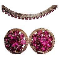 Weiss Mesh Necklace Earrings Fuschia Pink Rhinestones