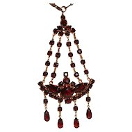 Fancy Czech Garnet Glass Waterfall Pendant Necklace