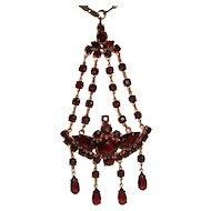 Art Deco Garnet Glass Waterfall Pendant Necklace Czech