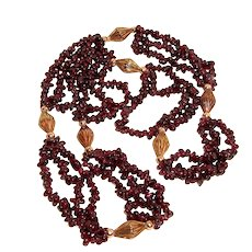 Estate Garnet Rope Necklace 20 Inches Long