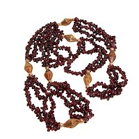 Estate Tumbled Garnets Rope Necklace