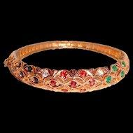 Hinged Bangle Bracelet Ruby Sapphire Emerald Natural Gemstones