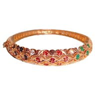 Natural Ruby Emerald Sapphire Hinged Bangle Bracelet