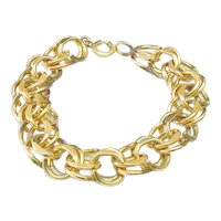 Heavy Gold Filled Charm Bracelet Layers of Circles
