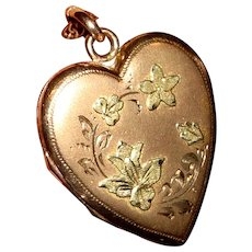 Gold Filled Heart Locket on Long Chain