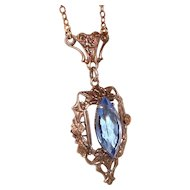 Art Deco Lavalier Necklace Blue Crystal Center Wedding