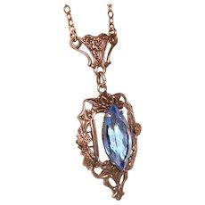 Art Nouveau Lavalier Necklace Blue Crystal Center Wedding