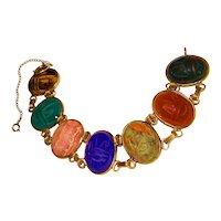 Vintage Scarab Bracelet Large Stones Gold Filled