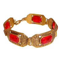 Art Deco Gothic Revival Red Link Bracelet