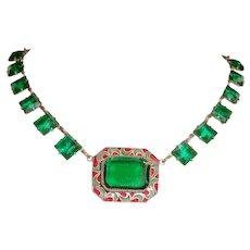 Art Deco Necklace Enamel Green Czech Glass