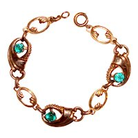 Art Deco Bracelet Aqua Stones Harry Iskin
