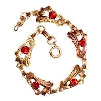 Art Deco Harry Iskin Bracelet Gold Filled Red Spinel Stones