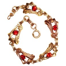 Art Deco Harry Iskin Bracelet Gold Filled Red Spinel Stones