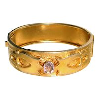 Gold Filled Bangle Bracelet Amethyst Center