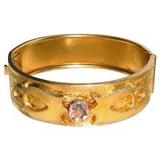 Gold Filled Bangle Bracelet Amethyst Center
