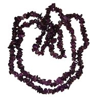 Amethyst Necklace Tumbled Stones 36 inches