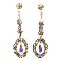 Antique Long Dangle Drop Earrings Purple Drops