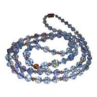 Long Blue Cut Crystal Necklace 36 Inches
