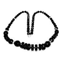 Art Deco French Jet Black Necklace 24 Inches