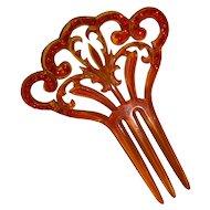 Mantilla Hair Comb Celluloid Red Rhinestones