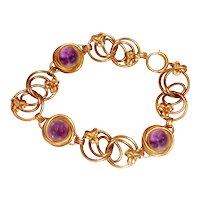 Natural Amethyst Cabochon Bracelet Shamrocks Gold Filled