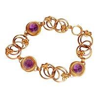 Art Deco Bracelet Natural Amethyst Cabochons